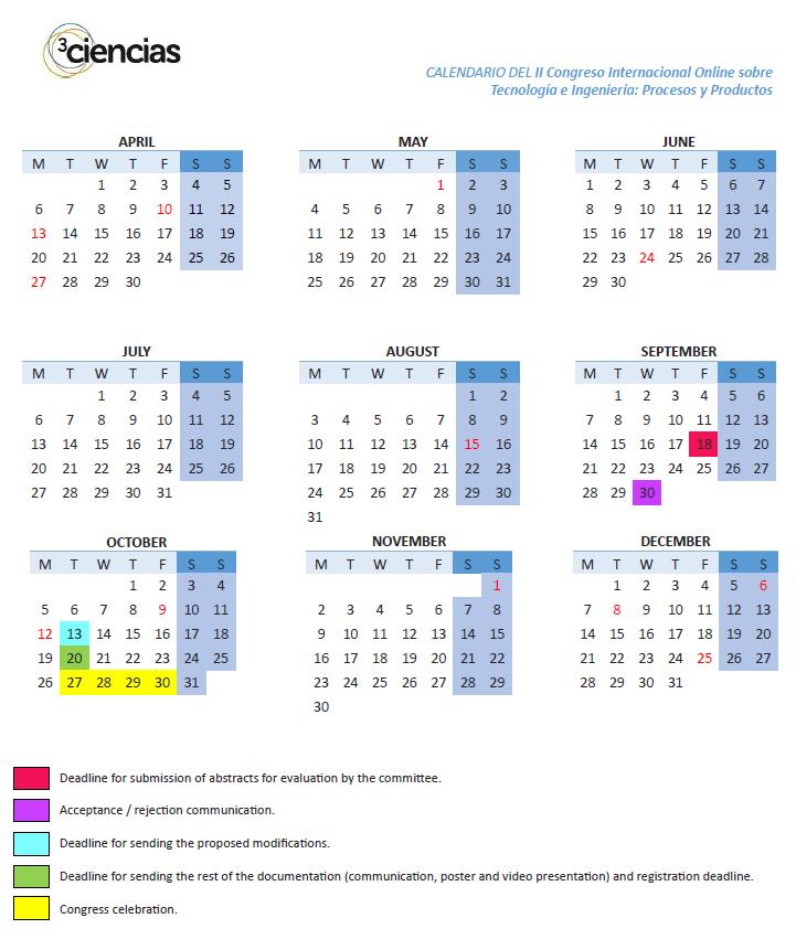 calendario tecno 2020 - INGLÉS